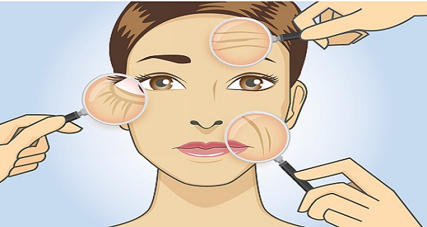 Woman magnifying wrinkle on face